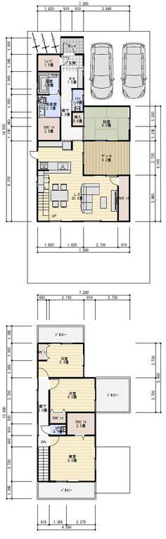 間取り 中庭 35坪 Plan Sketch, Garage House, Good House, House Floor Plans, Smart Home, Layout, Flooring, How To Plan, Interior Design