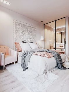 Modern bohemian bedroom Home Decor Inspiration home decor, home inspiration, furniture, lounges, decor, bedroom, decoration ideas, home furnishing, inspiring homes, decor inspiration. Modern design. Minimalist decor. White walls. Marble countertops, marble kitchen, marble table. Contemporary design. Mid-century modern design. Modern rustic. Wood accents. Subway tile. Moroccan rug.