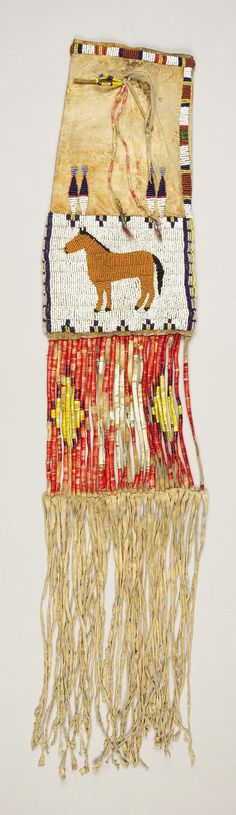 A SIOUX BEADED HIDE PICTORIAL TOBACCO BAG. c. 1900... American | Lot #77261 | Heritage Auctions