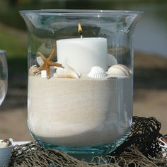 Sand Candle...so cute for ocean themed bathroom