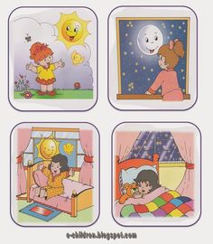 day and night 2 Sequencing Pictures, Story Sequencing, Sequencing Activities, Preschool Worksheets, Educational Activities, Learning English For Kids, English Worksheets For Kids, English Lessons For Kids, Nursery Activities