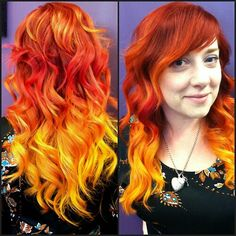 Pravana Vivids color by jennhasfeet on . Red Orange Hair, Orange Ombre, Yellow Hair, Red Hair Color, Cool Hair Color, Hair Colors, Orange Yellow, Hairstyles With Bangs, Cool Hairstyles