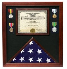 Flag medal display case, great flag case for retirement certificate