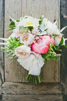 Lush Ivory and Coral Peony Bouquet | onelove photography | Stylish Rockstar Wedding at a Southern California Ranch