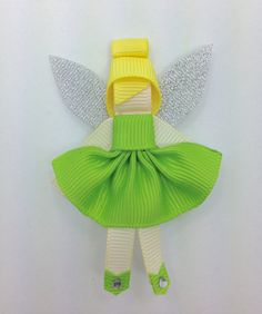 TInkerbell Fairy Hair Clip Ribbon Sculpture