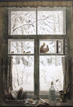 "Soviet Postcards — Orest Vereisky ""By the Window"" Art Fantaisiste, Illustration Noel, Window View, Winter Art, Winter Time, Whimsical Art, Winter Scenes, Christmas Art, Illustrators"