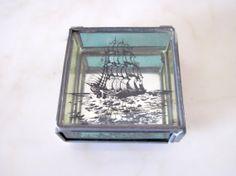 Vintage Glass Ship Trinket Box - Display Trinket Container Mirror