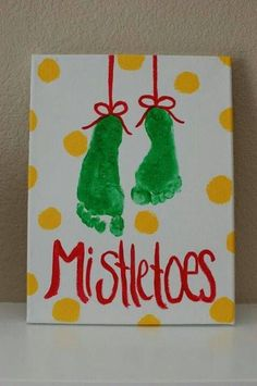 Mistletoe--such a cute craft idea for the kids or for couples! Name and date each one to make it really memorable! Or really cute for Baby's First Christmas or first Christmas as a married couple!