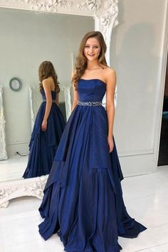 Custom Made Morden Blue Prom Dresses, Navy Prom Dresses, Long Prom Dresses, 2019 Prom Dresses Custom Made Prom Dresses Blue Prom Dresses Prom Dresses 2018 Navy Prom Dresses Navy Blue Quinceanera Dresses, Navy Blue Prom Dresses, Strapless Prom Dresses, A Line Prom Dresses, Grad Dresses, Pretty Dresses, Evening Dresses, Sexy Dresses, Dress Prom