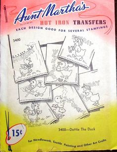 774767ce6 Aunt Martha's 3400 Vtg 1950s Hot Iron Embroidery Transfer Pattern Cute  Dottie the Duck Duckie DOW