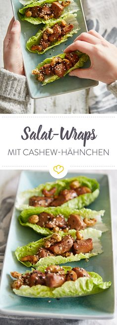 Dank Salat brauchen deine Wraps keine Tortilla mehr. Füll das gebratene Cashew-Teriyaki-Hähnchen als Feierabend-Fingerfood direkt in die knackigen Blätter.