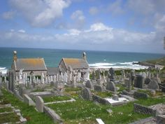 Barnoon Cemetery, St Ives, Cornwall, England, overlooking Porthmeor Beach. Started in 1855; no further burials as of late 1950's.