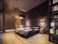 A Creative, Rustic Home with Retro Geometric Features A rustic home does not have to mean a secluded cabin in the woods. The home featured in this post, from visualizer Plasterlina includes rustic elements like lot zuhause Modern Master Bedroom, Modern Bedroom Decor, Farmhouse Master Bedroom, Bedroom Ideas, Cozy Bedroom, Bedroom Designs, Bedroom Furniture, Rustic Bedrooms, Bedroom Bed