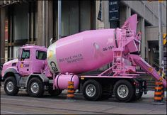 Pink Cement Mixer--watch out, lady with a big pink truck comin' through