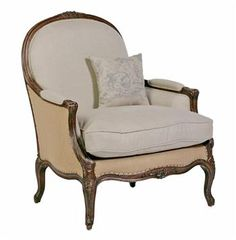 Chloe Oversized French Country Burlap Linen Bergere Accent Chair traditional-armchairs-and-accent-chairs Chair And Ottoman, Upholstered Chairs, Armchair, Gabby Furniture, Home Furniture, Luxury Furniture, Design Furniture, Chair Design, Antique Furniture
