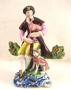 Antique Staffordshire Figurine Man w/bagpipes & Dog | eBay