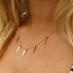Free People Gold Fill 14k Marida Spike Necklace