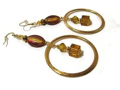 Gold Plated Red and Amber Color Glass Beaded by SharkysWaters, $10.00