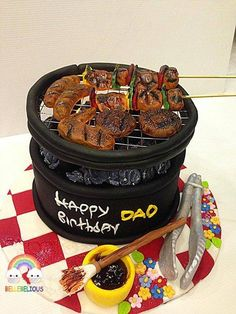 Crazy Cakes, Fancy Cakes, Unique Cakes, Creative Cakes, Fondant Cakes, Cupcake Cakes, Baking Recipes, Cake Recipes, Bbq Cake