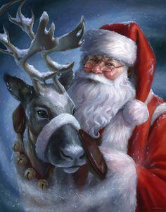 Magic in the Air — Christine Kornacki Illustration Christmas Scenes, Noel Christmas, Father Christmas, Christmas Pictures, Vintage Christmas, Christmas Crafts, Christmas Lights, 3d Fantasy, Christmas Paintings
