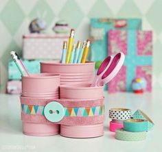 Trio of cans to hold pencils or scissors.. Using, paint, washi tape and button