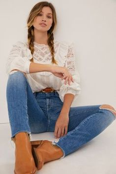 MOTHER The Looker High-Rise Frayed Skinny Jeans | Anthropologie Skinny Fit, Skinny Jeans, Types Of Women, Jean Top, Jeans Brands, Dress Brands, What To Wear, Mom Jeans, Feminine