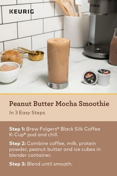 Heres an easy Peanut Butter Mocha Smoothie recipe made with coffee and the new K-Cafe brewer. It's perfect for a post-gym pick-me-up! Mocha Smoothie, Juice Smoothie, Smoothie Drinks, Healthy Smoothies, Healthy Drinks, Smoothie Recipes, Healthy Snacks, Healthy Coffee Smoothie, Detox Drinks