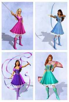 Barbie as Corinne Nikki as Renée Teresa as Viveca & Summer as Aramina in Barbie and the Three Musketeers