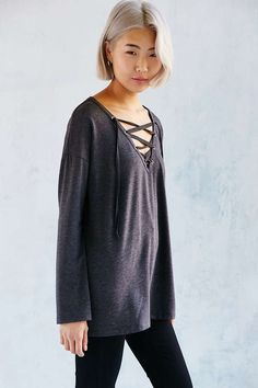 Silence + Noise Rex Lace-Up Tunic Top - Urban Outfitters