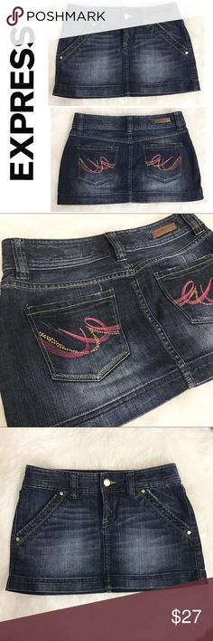 """Express Denim Mini Skirt Size 4 Dark Wash Super cute and in excellent condition Express Mini Denim Skirt - a fashionista must-have! Trendy and feminine! Size 4  Approximate measurements  Waist 16"""" Length 11"""" Width 19""""  Fabric is a bit stretchy   ✅All items in my closet are either NEW or in excellent condition - any signs of wear are minimal and will be detailed on pictures and description. ✅ Very clean and smoke free home.  ✅Make me an offer and shop bulk to save! Express Skirts Mini"""