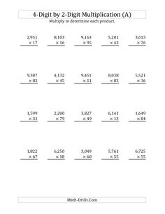 math worksheets printable multiplication 4 digits by 1 digit ...