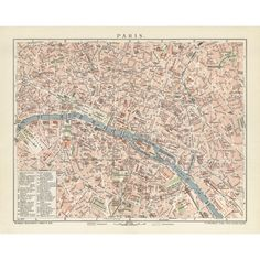 Vintage map reproduction of Paris. Handmap paper print. Old map poster of Paris.