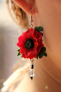 Poppy Earrings out of Polymer Clay by LilianaCrafter on Etsy