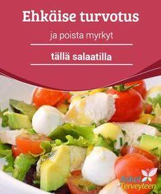 En lækker salat til at tømme maven og rense kroppen . Healthy Menu, Healthy Recipes, Clean Recipes, Cooking Recipes, Plats Healthy, Caprese Salad, Cas, Salad Recipes, Entrees