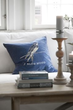BLUE MOOD cushion and DARLA candlestick. Lene Bjerre, spring 2014.