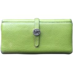 Pre-owned  Vintage Pebbled Leather Wallet (390 CAD) ❤ liked on Polyvore featuring bags, wallets, accessories, light green, hardware bag, zip bag, hermès, green wallet and pebbled leather wallet