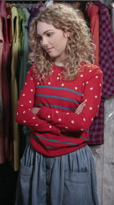 Carrie's red polka dot and stripe sweater with denim button front skirt on The Carrie Diaries
