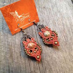 Micro macramé earrings ocean jasper boho jewelry stone macrame earrings Hippie chic earrings bohemian wear gypsy woodland elf