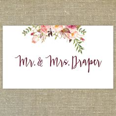 Flower Posie Floral Place Cards/Escort Cards with by PixieChicago