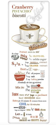 Mary Lake-Thompson Coffee Cup Bee Biscotti Recipe Towel