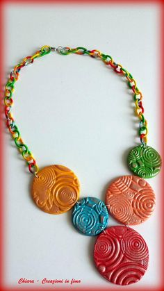 #polymerclay Collana etnica in argilla polimerica handmade elegante