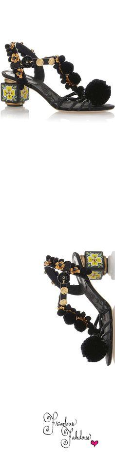Frivolous Fabulous - Dolce & Gabbana Black Pom Pom Sandal Spring Summer 2016