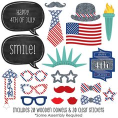 4th of July - Holiday Party 20 Piece Photo Booth Props Kit | BigDotOfHappiness...