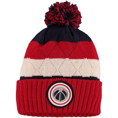 Washington Wizards Mitchell & Ness Quilted Stripe High 5 Cuffed Knit Hat with Pom - Navy/Red - $23.99
