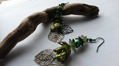 Earrings Large Green with bronze leaves £6.00