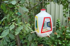 What do you make out of a milk bottle? A bird feeder!