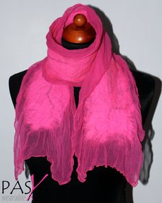 SALE  Handmade Merino Wool Felted Silk Chiffon Hot Pink by Pasya