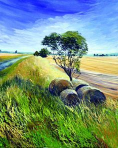 Tony Hogan - Hay Bails Left On Wolds Top  This project was created using Atelier Interactive Professional Artists' Acrylic