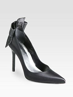 """Stuart Weitzman First Prize Satin Bow Pumps...I love S.W. shoes because they make """"larger"""" sizes....☺"""