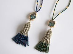 Items similar to Kendra Scott inspired tassel necklace - Beaded tassels with natural agate bicolor gold plated druzy stone - Teal blue, silver, green beads on Etsy Beaded Tassel Necklace, Tassels, Trending Outfits, Unique Jewelry, Handmade Gifts, Silver, Kendra Scott, Inspiration, Etsy